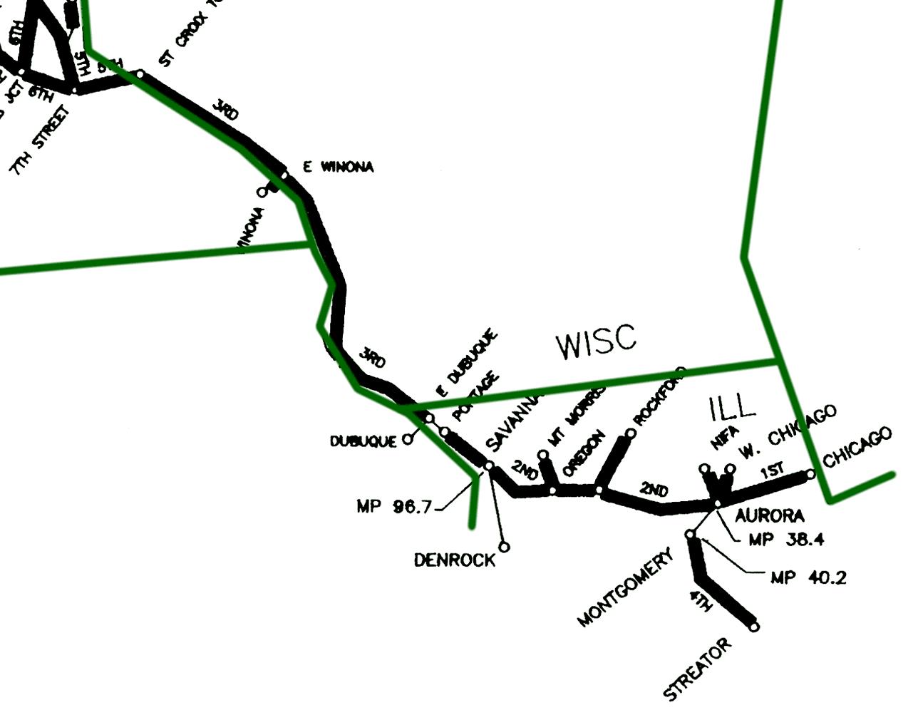 Burlington northern right of way strip map