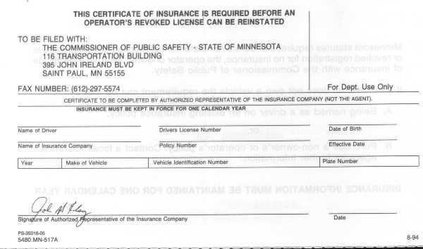 Minnesota Certificate Of Insurance